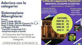 "Torneo Internazionale ""Città di Capaccio Paestum"" MEMORIAL GIUSEPPE Acanfora 2019"